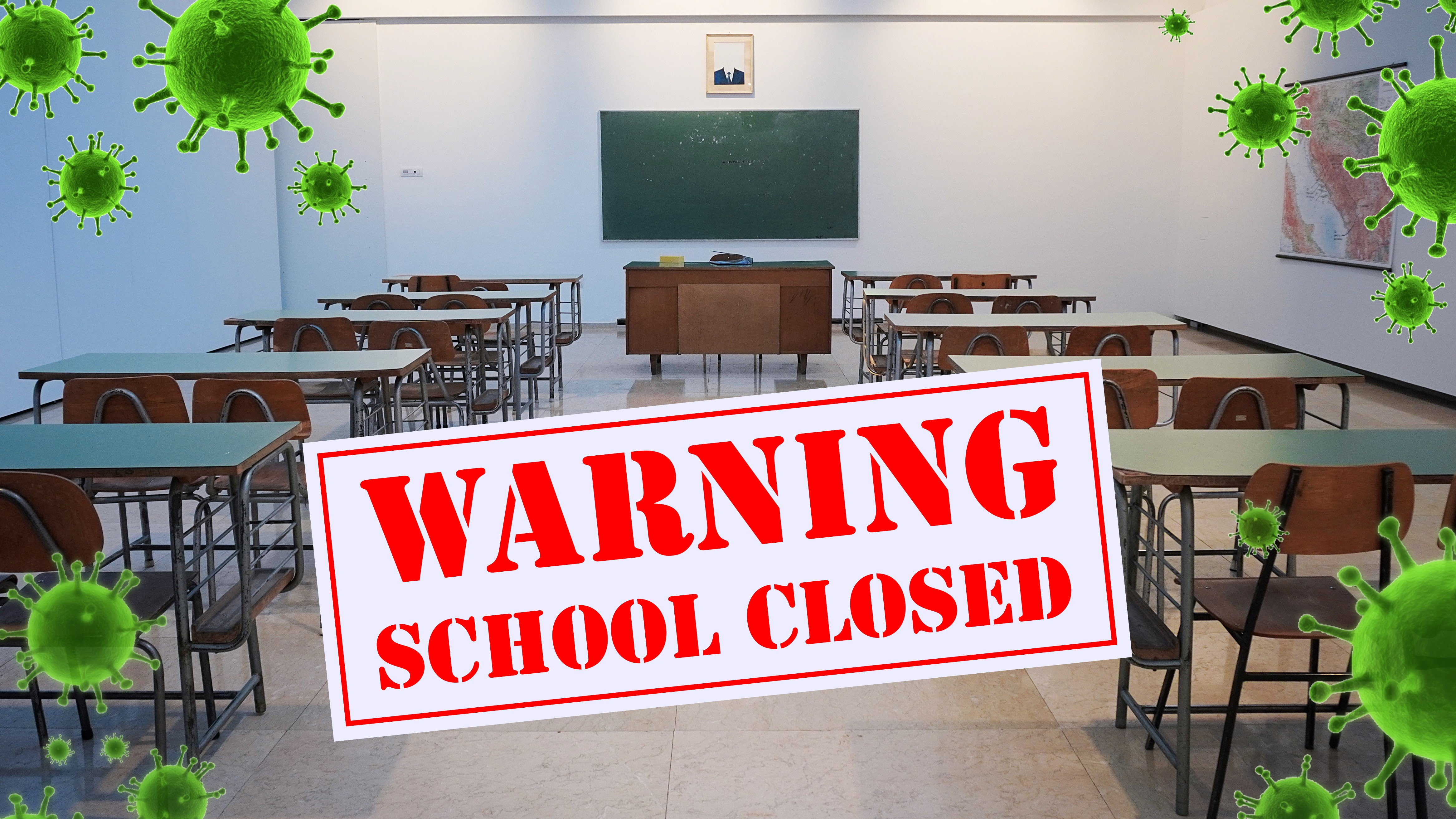 Warning School Closed, empty classroom image